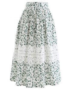 Crochet Decorated Green Floral Midi Skirt