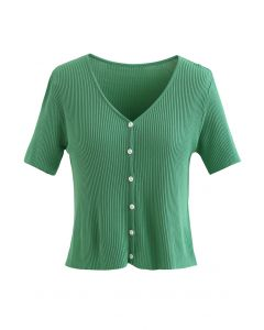 Buttoned V-Neck Short Sleeve Rib Knit Top in Green