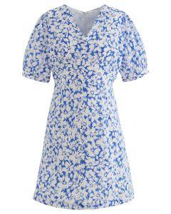 Gentle Blossom V-Neck Buttoned Mini Dress in Blue