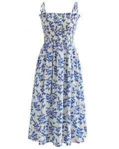 Tie Shoulder Floral Shirred Midi Dress in Blue