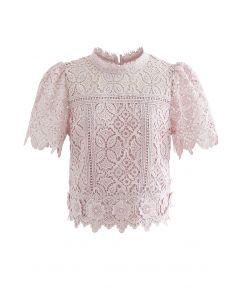 3D Flower Full Crochet Crop Top in Pink