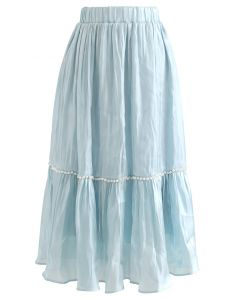 Shimmer Satin Pearly Midi Skirt in Blue