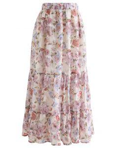 Romantic Blossom Floral Jacquard Frill Hem Maxi Skirt