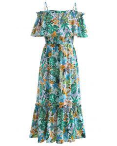 Tropical Vibe Cold-Shoulder Cami Dress