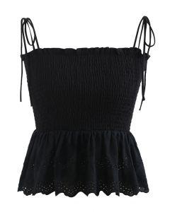 Self-Tie Shoulder Shirred Crop Top in Black