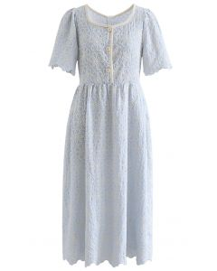 Full Flower Embroidered Button Scalloped Dress in Baby Blue
