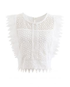 Crochet Lacey Sleeveless Crop Top in White