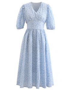 Bubble Printed Tie Waist Midi Dress in Blue