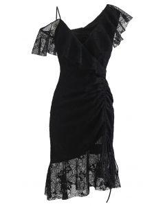 Cold-Shoulder Full Lace Frilling Dress in Black