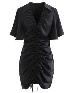 Flare Sleeve Drawstring Front Mini Dress in Black