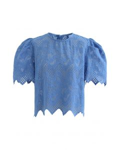 Scrolled Embroidery Zigzag Organza Top in Blue