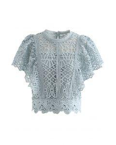 Ruffle Sleeves Full Crochet Crop Top in Dusty Blue