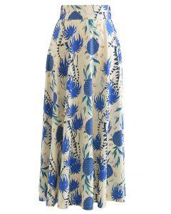Tropical Pineapple A-Line Maxi Skirt