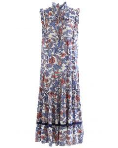 Rose and Tulip Paisley Sleeveless Maxi Dress