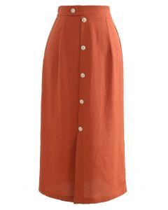 Button Embellished Slit Front Midi Skirt in Orange