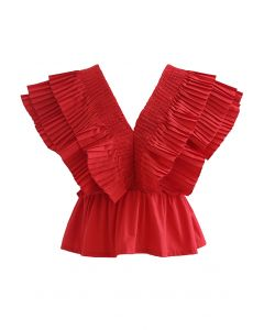 Pleated Ruffle Buttoned Deep V-Neck Crop Top in Red
