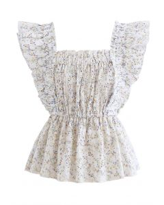Floret Print Ruffle Embroidered Sleeveless Top in Ivory