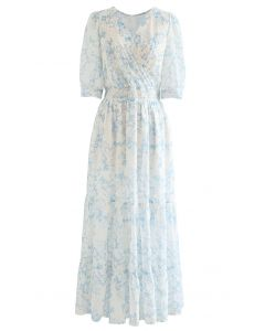 Blue Floret Flock Dot Frilling Maxi Chiffon Dress