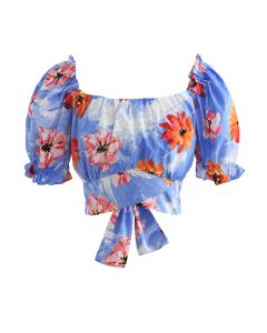 Bowknot Back Floral Print Crop Top in Blue