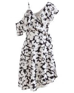 Cold-Shoulder Wrap Front Asymmetric Dress in Black