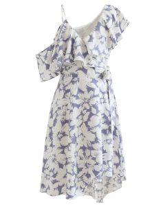 Cold-Shoulder Wrap Front Asymmetric Dress in Lavender