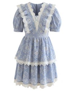 Full Embroidery Lace Trim Tiered Dress