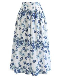 Falling Flowers Pleated Midi Skirt in White