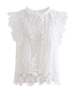 Full Embroidered Cochet Sheer Sleeveless Top in White