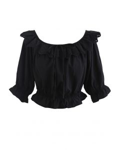 Scallop Embroidered Bowknot Crop Top in Black
