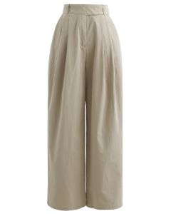 Belted Waist Straight Leg Cotton Pants in Tan