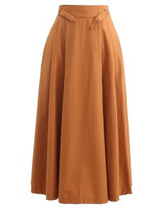 Belted Waist Pleated Cotton Midi Skirt in Orange