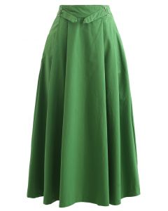 Belted Waist Pleated Cotton Midi Skirt in Green