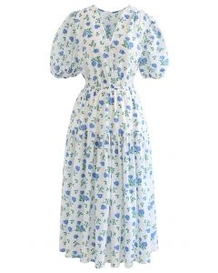 Blue Posy Embossed Wrap Midi Dress