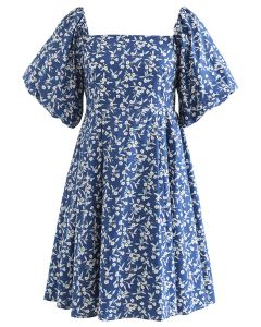Square Neck Bubble Sleeve Floret Shirred Dolly Dress in Blue