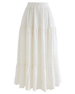 Embroidered Floret Frilling Cotton Skirt in Cream