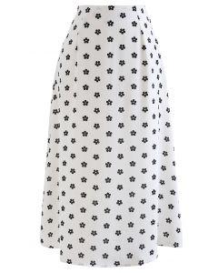 Daisy Print High-Waisted A-Line Midi Skirt in White