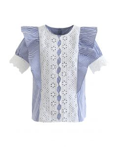 Embroidered Floral Buttoned Back Ruffle Top in Stripe