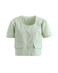 Fake Pocket Buttoned Textured Crop Blazer in Green