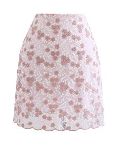 Embroidered Floral Mesh Mini Skirt