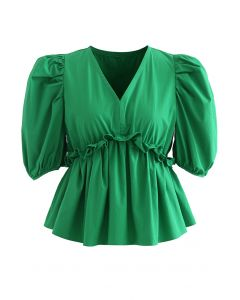 High Ruffle Waist V-Neck Bubble Sleeve Top in Green