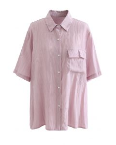 Patched Pocket Textured Shirt in Dusty Pink