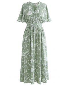Botanical Garden Wrap Tied Midi Dress in Green