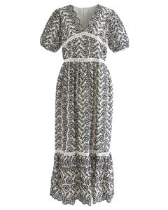 Scallop V-Neck Floral Eyelet Embroidery Maxi Dress in Navy