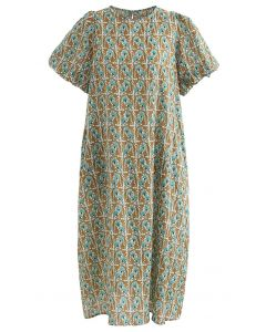 Floral Print Side Pocket Puff Sleeve Midi Dress
