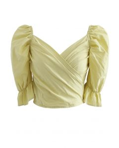 Wrap Front Shirred Crop Top in Mustard