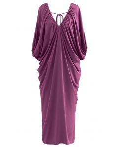 Dolman Sleeve Plunge Neck Midi Dress in Violet