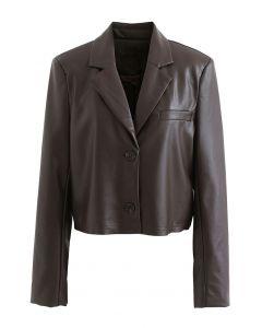 Faux Leather Pad Shoulder Crop Blazer in Brown