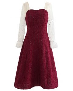 Sweetheart Mesh Spliced Sequined Flare Dress