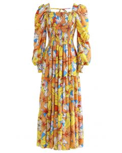 Lily Print Bubble Sleeve Maxi Dress in Yellow