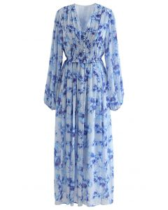 Delicate Floral Shirred Maxi Dress in Blue